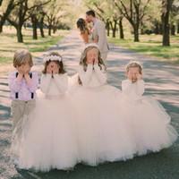 Wholesale tulle dresses for little bridesmaids - 2017 Ball Gown Flower Girls Dresses For Weddings Long Sleeves Tulle Floor Length Fall Little Girls Wedding Dresses Junior Bridesmaid Dresses