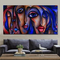 Wholesale Girl Pop Art - KG Handpainted Pop Art Paintings Abstract Sexy Lady Big Eye Girl Canvas Art Modern People Paints Figure work 3 Colors Unstretcher Whosale