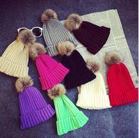 Wholesale Christmas Tights For Women - Winter Fashion Skull Beanie Classic Tight Elastic Knit Fur PomPom Candy Hats for Women Cap Winter Beanies Headgear Headdress Head Warmer