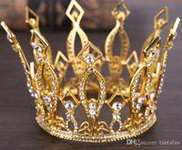 altın kaplamalı kristal taç toptan satış-Düğün Rhinestone Gelin Gelinlik Yıldız Kadınlar Kızlar Altın Kaplama Kristal Tiara Taç Kafa Tiaras Taçlar Saç Jewlery