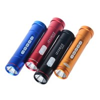 Wholesale Mobile Led Head - Multifunction 5in1 Bike Handlebar LED Flashlight with Mobile Power Supply MP3 Speaker USB FM Radio Bicycle Front Light Black Red Blue Gold