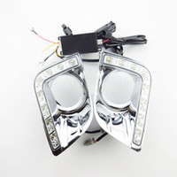 Wholesale Daytime Toyota - 1 Pair New Car Accessories Waterproof 12V Car LED light DRL Daytime Running Lights With Fog Lamp Hole for Toyota Prado 12-14