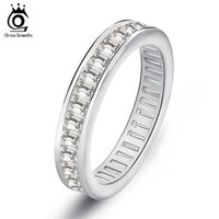 Wholesale Rectangle Wedding Rings - Rectangle CZ Invisible Setting Wedding Bands For Women Fashion Eternity Ring on 3 Layer Platinum Plated OR62