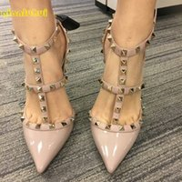 Wholesale Gray Yellow High Heels - Top Quality 2016 New Style Women Fashion Rivets High heels Sandals pointed Patent Leather Pink Nude Wedding Shoes Women Size 33-41