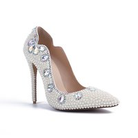 Wholesale Sparkle White Heels - New Sparkling Rhinestones Wedding Shoes Pointed Toe Slip On Pearls Bridal Dress Shoes Woman White Pumps