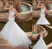 Wholesale Thin Crystal Wedding Sashes - 2016 Gorgeous Sweetheart Thin Straps Mermaid Appliques Lace Wedding Dresses Bridal Gown With Tulle Open Back See Through