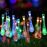 Vente en gros - Outdoor Led Solar Garland 20 Feet 30LEDs Water Drop Solar Fairy Lights Imperméable pour Jardin Patio Yard Accueil Décoration de fête