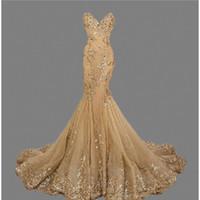robe de concurso venda por atacado-Querida Sereia Vestidos de Noite 2018 Ouro Prom Vestido de Lantejoulas Appliqued Pageant Vestido vestido de festa robe de soirée de festa