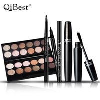 Wholesale China Eyes Makeup - QiBest Makeup Set for Eye Black 3D Mascara+Eye Shadow+Eyeliner+Eyebrow Pencil Top Quality China Brand Makeup Brand