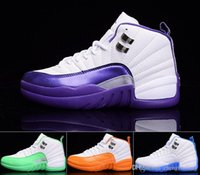 Wholesale Cheap Women S Summer Shoes - 2016 New Arrive 12 Retro GS White Green Blue Orange Purple Women Girls Cheap Basketball Shoes Kevin Martin's Retro 12 XII AAA Quality S
