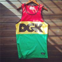 Wholesale Mens Cotton Singlets - Wholesale-2016 DGK men hip hop tank tops streetwear singlet patchwork skateboard vest stringer mens tops clothing camiseta tirantes hombre