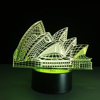 hafif ev 3d toptan satış-2016 Sydney Opera Binası 3D Optik Illusion Lamba Gece Lambası DC 5 V USB Şarj 5th Pil Toptan Dropshipping Ücretsiz Kargo