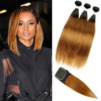 insan saçı üç parçalı kapanır toptan satış-Dantel Kapatma Ücretsiz Orta Üç Parçalı Ombre ile 3 Paketler İnsan Saç Dokuma Renkli Ham Hint Saç Ipeksi Düz T1B 30 Saç Uzantıları