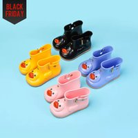 Wholesale Jelly Flower Boot - Rain Boots Rain Shoes Kids Cute Cartoon Fashion Rhinoceros Rubber Boys Girls Snow Jelly for Children PVC Non-slip