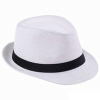 Wholesale Trilby Hats For Women - Fashion Hats for Women Fedora Trilby Gangster Cap Summer Beach Sun Straw Panama Hat with Ribbow Band Sunhat H1133