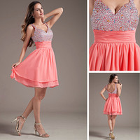 ingrosso abiti a ginocchio in melone-Grogeous Al ginocchio Water Melon Sweetheart Chiffon Party Dress Paillettes Perline Top Corto Cocktail Dress A-line Cinghie 2018