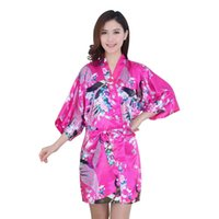 Wholesale Essential Women Silk Satin Long Wedding Bride Bridesmaid Robe Peacock Bathrobe Floral Kimono Robe Size M XXL