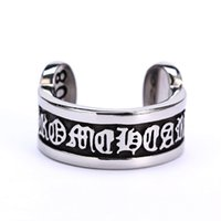 bless china - Openings Vintage Punk Gothic Blessing Scripture Ring Unisex NO fade Brand Fashion Jewelry Stainless Steel Ring Trendy Jewelry