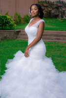 Wholesale Mermaid Skirts - African New Mermaid Wedding Dresses Plus Size V Neck Cap Sleeves Crystal Beaded Sparkle Court Train Bridal Gowns 2016 Ruffles Tiered Skirts