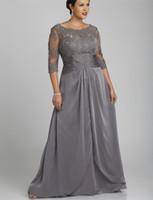 robes de mariée gris taille plus mère achat en gros de-Style populaire, plus la taille gris mère de la robe de mariée manches 3/4 encolure dégagée en dentelle mousseline étage longueur robes de soirée sur mesure