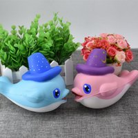 Wholesale Kids Hats Strap - 30pcs DHL lovely magic hat dolphin Jumbo Squishy Slow Rising Pendant Phone Straps Charms Queeze Kid Toys Cute squishies Bread
