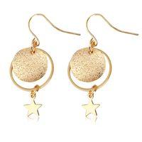 Wholesale Clip Earrings Star - New Handmade Matte Star Dangle Earrings Vintage Geometric Round Gold color Alloy Statement Drop Earrings For Women Ear Clip