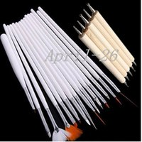 Оптово-New Pro 20pc Nail Art Design Painting Detailing Brushes Dotting Pen / Dotter Tool Kit Set