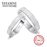 pareja anillo de plata de ley par al por mayor-YHAMNI Fashion Frosted Couple Rings Real 925 anillos de bodas de plata esterlina para mujeres y hombres 1 par anillo de compromiso conjunto joyería G17