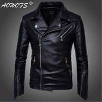 Wholesale Leather Men Coat Very - Wholesale- AOWOFS Very handsome Motorcycle Leather Jackets Men Brand Clothing Top quality Export to America Men's Locomotive jackets coats