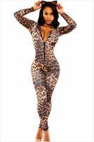 Wholesale leopard cosplay sexy online - Wild Sexy Women Leopard Print Bodysuit Wetlook Deep V Neck Bodycon Jumpsuit Long Sleeve Rompers Fetish Catwoman Cosplay Catsuit