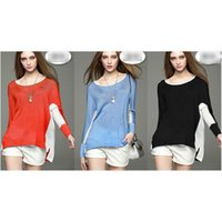 Wholesale Cardigans Style For Women - Fashionable Pullover Cardigans Sweaters Panelled Loose Knitted Knitwear Sweaters Cardigans for Women with Batwing Sleeve A005