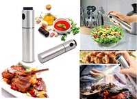 Wholesale Cooking Oil Bottles - New Stainless Steel Olive Oil Spray Pump Fine Bottle Oil Sprayer Pot Cooking Roast Bake Oil Bottle Tools Oil Dispenser