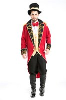 Wholesale Cheap Men Masquerades - Cheap Sale Halloween Party Magician Tuxedo Funny Circus Costumes Masquerade Cosplay Carnival Free shipping