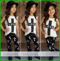 Wholesale Zebra Love - tyfactory one piece Summer Style Hot Sale Little Children Girls' Set 2016 2 Pcs Baby Girl LOVE Outfits Top+Pant Kids Clothes free shipping