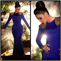 Wholesale Long Sleeve Jersey Gown Pageant - Spandex Beaded Jewel Neck Long Sleeve Mermaid Royal Blue Evening Dresses 2017 Robe De Soiree Pageant Gown Zipper Up Back Court Train