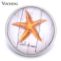 Wholesale Glass Starfish Charms - VOCHENG NOOSA Wholesale Interchangeable 18mm Starfish Glass Snap Charm Jewelry Vn-1254