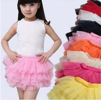Wholesale Layered Tutu Child Skirt - summer girls ball fluffy princess skirt children baby tulle layered tutu short party clothes skirts