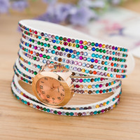 Wholesale Wholesale Drilled Quartz Leather - 28 styles Hot drilling leather watch Mix Colors Cow Leather Women Watches Leather Butterfly Charm Watches Wrist Watches bracelets for women