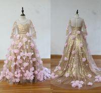 rendimiento de lentejuelas al por mayor-¡Imagen 100% real! Lentejuelas doradas Flores rosadas Vestidos para niñas Vestidos de cuello alto Mangas largas Vestido de fiesta Vestidos de fiesta de cumpleaños para niñas