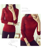 Wholesale Short Sleeved Beige Jackets - new Korean women's high-necked sweater Shirt T-shirt long-sleeved short-sleeved sweater tight jacket short paragraph thickening-da7