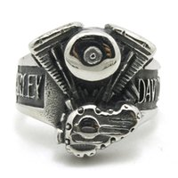 Wholesale Cool Engine - Hot selling 316L stainless steel mens Cool biker engine ring For real biker 100% good quality