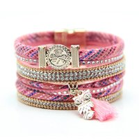 Wholesale Tassel Charms For Bracelets - Wholesale-New design fashion style bracelet owl charms bracelet with tassel fashion high quality owl jewelry for women