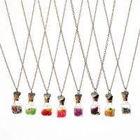 Wholesale Gemini Pendants - Crystal diamond dry flower drift wishing bottle heart pendants Necklaces for women lover gemini necklace DIY jewelry Christmas gift 161547