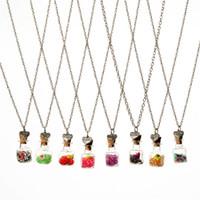 diy isteyen şişe kolye toptan satış-Kristal elmas kuru çiçek sürüklenme dileğiyle şişe kalp kolye kolye kadınlar için sevgilisi ikizler kolye DIY takı Noel hediyesi 161547