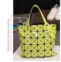 Wholesale Triangular Shoulder Bag - 2016 newest womens ladies 6*6 BAO BAO issey Totes Triangular Lattice LUCENT BASICS TOTE BAG quilted handbag Clutch Free shipping