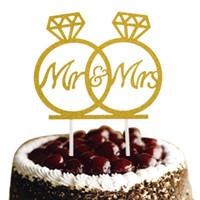 anillos de boda pastel de cumpleaños al por mayor-Anillo de diamante Sr. Sra. Pastel de bodas Topper Glittler Banderas Wedding Engagement Party Cake Baking Decoración Banderas de pastel nupcial