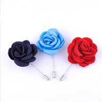 Wholesale Red Fabric Flower Pin - New fashion men brooch rose flower lapel pin 5cm suit boutonniere fabric yarn pin 3 colors button Stick brooches for wedding
