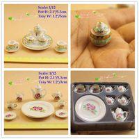 Wholesale Dollhouse Tea Set - 1:12 Dollhouse Miniature Porcelain China Tea Set Coffee set Pot Cup Tableware Set Doll house accessories Lot 2 sets