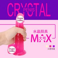 Wholesale Double Jelly Dildo - Crystal Multispeed Waterproof Realistic Dildo Vibrator, Soft Jelly Powerful G Vibe, sex toys for women