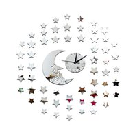 Wholesale Korean Star Glasses - 3D mirror wall stickers wall clock Creative new Home Decor DIY silver Star Moon Removable Decoration Stickers 2017 wholesale Free delivery